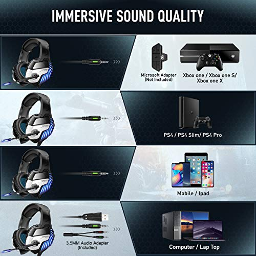 ONIKUMA Gaming Headset for PS5 PS4 Controller Xbox One (Adapter Not Included), Noise Cancelling Over Ear Headphones with Mic, 7.1 Surround Sound, Blue LED Light Headset for NS PC Mac Laptop - K5 Pro