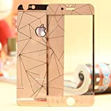 3D Diamond Pattern Mirror Front + Back Tempered Glass Screen Protector for Apple Iphone 4 4S -Rose Gold