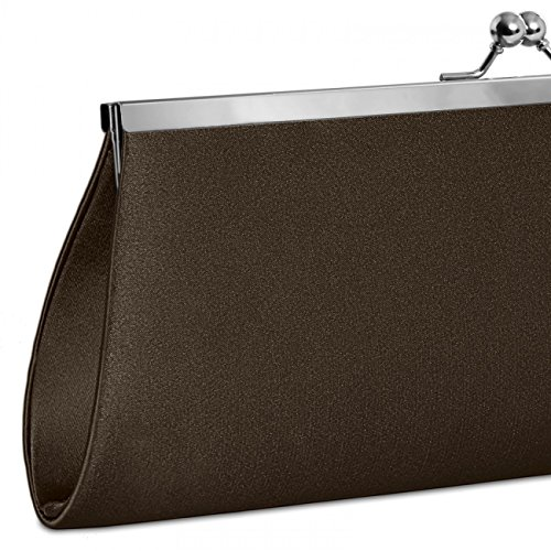 Evening Bag CASPAR Clasp Dark many Brown Classic Metal colours with Satin TA309 Clutch Womens Elegant wqZIgqU