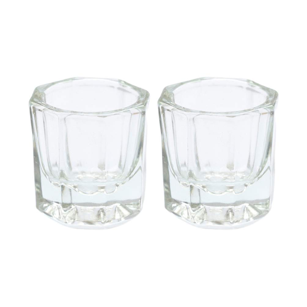 Onwon 2 Nail Art Acrylic Liquid Powder Dappen Dish Glass Crystal Cup Glassware Tools: Beauty