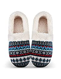 Women's Slippers Non-Slip with Memory Foam Slippers Fuzzy Wool-Like Plush Fleece Lined House Shoes Indoor/Outdoor Anti-Skid Rubber Sole