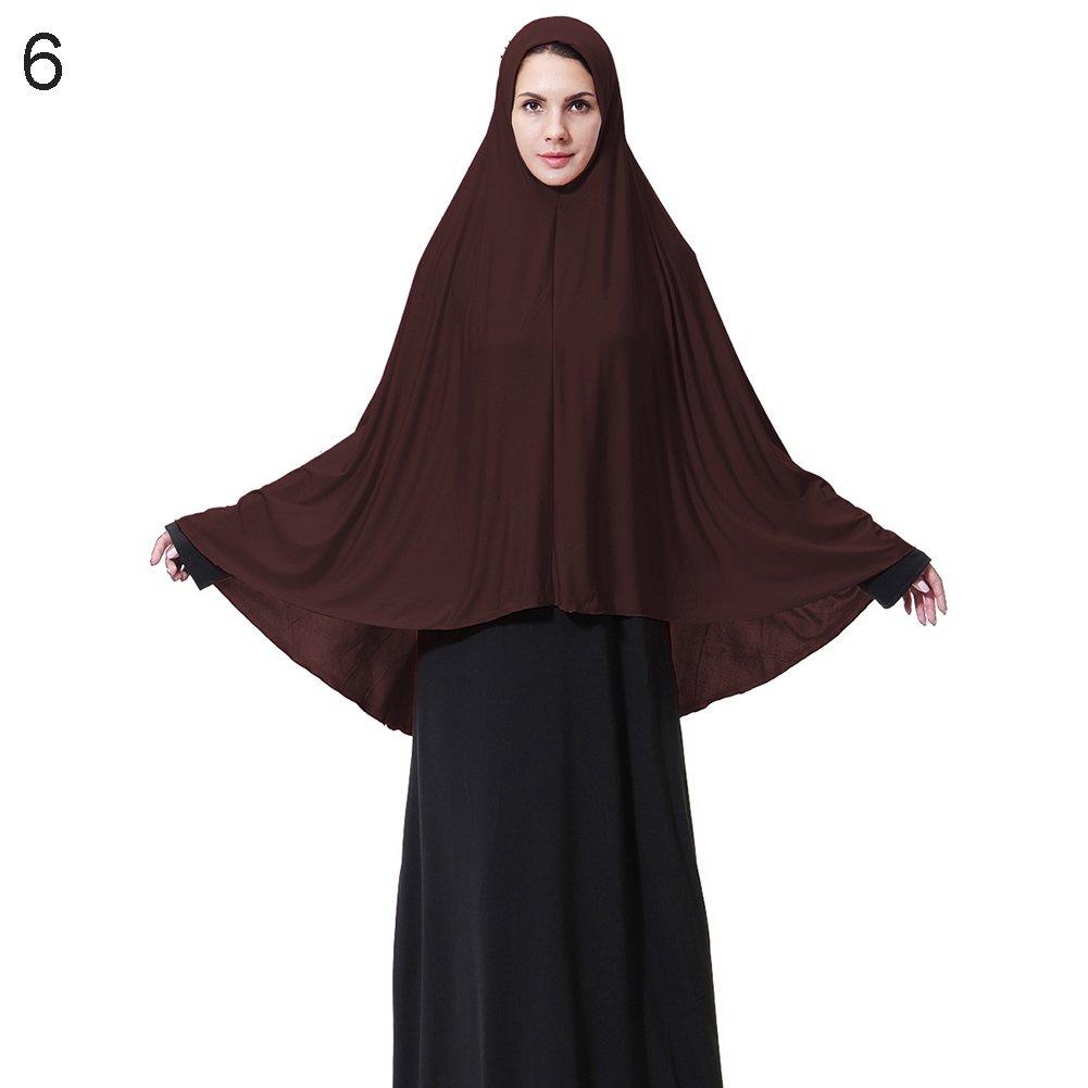 Trenton Elegant Modest Muslim Islamic Ramadan Soft Lightweight Jersey Hijab Long Scarf for Women Coffee L