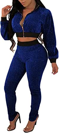 FSSE Womens 2 Piece Outfits Short Crop Jacket and Pants Tracksuits Sweatsuits Sets