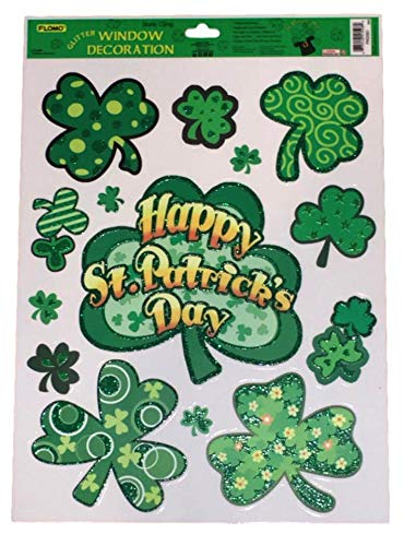 Plum Nellie's Treasures St. Patrick's Day Window Decals Glitter - St. Patty's Day Themed Window Clings - Shamrocks, Leprechaun, Rainbows & Pot of Gold (Shamrocks Happy St. Patrick's Day) -