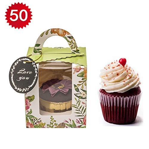 50 Pcs Clear Bakery Pastry Food Grade Flower Garden Design Cardboard Single Cupcake Boxes With Window And Handle Wholesale