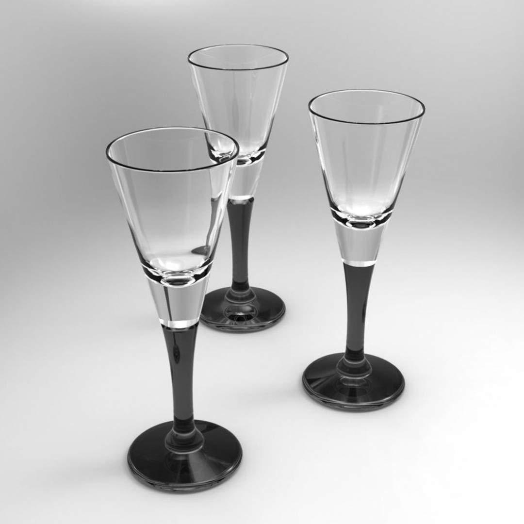 Set of 6 Tall Black Stem Liqueur Sherry Shot Glasses 50ml, Clear | Aperitif Glasses Solavia