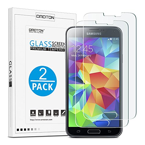 2-Pack-OMOTON-Samsung-Galaxy-S5S5-Neo-Screen-Protector-with-25D-Round-Edge-9H-Hardness-High-Definition-Bubble-Free-Tempered-Glass-Screen-Protector-for-Samsung-Galaxy-S5S5-Neo-51-Inch