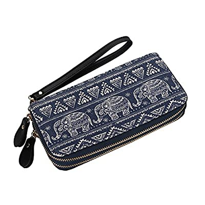 Women Large Capacity Elephant Wallet Canvas Purse Zipper Wristlets Clutch Phone Card Checkbook Holder Handbag