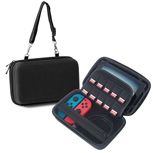 Insten Hard Carrying Case for Nintendo Switch Car Mounting Travel Zip Carry Bag EVA Pouch Stand Cover with 10 Game Cartridge Slot Holders & Hand Strap for Nintendo Switch Console ()