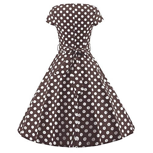 Luouse - Vestido - Manga corta - para mujer V045-DotCoffee