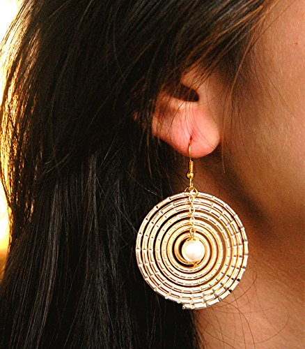 (Abhika Creations Golden Spiral Hoop Earrings Dangling Pearl Handmade Traditional Indian Women Designer Fashion Jewelry Gift)