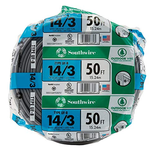 Feeder Cable - SouthWire Company 13057522 14/3WG UF Wire 50-Foot