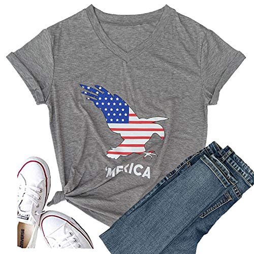 (Hellopopgo Women Faith Family Freedom USA American Flag Lips Shirt Short Sleeve Graphic Tees Funny T Shirts Summer Tops (Large, Eagle-Grey))