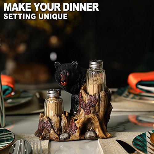 ARAIDECOR Curious Black Bear Salt and Pepper Holder Sculpture Home Décor or Restaurant Setting Statue - 6 x 6 Inches (Black Bear) by ARAIDECOR (Image #4)
