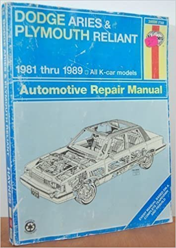dodge aries and plymouth reliant 1981 thru 1989 all k car models dodge aries and plymouth reliant 1981 thru 1989 all k car models automotive repair manual book no 723 j h haynes larry warren 9781850107026