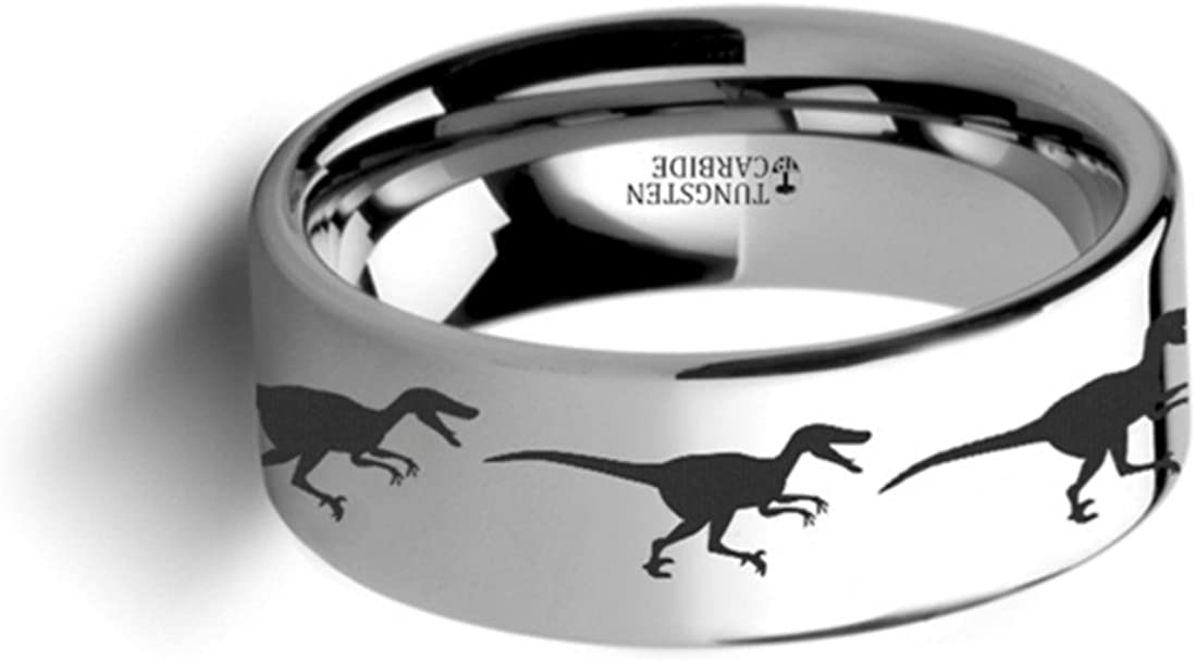 Thorsten Dinosaur Ring Raptor Velociraptor Prehistoric Paleo Flat Polished Tungsten Ring 4mm Wide Wedding Band from Roy Rose Jewelry
