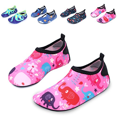 Kids Pink Foot (L-RUN Children's Walking Shoes Multifunctional Barefoot Pink_Red 12.5-13=EU 30-31)