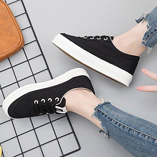 Basse Scarpe di Estate Spesso Black Sandales Donna Scarpe Nuovo Scarpe Traspirante Coreane Fondo Scarpe Bianche Scarpe Tela Studente Selvaggio Piccole CqWT4
