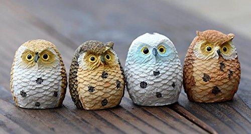 8Pcs Miniature Lovely Owls,Miniature Dollhouse Pots Decor Moss Bonsai Micro Landscape DIY Craft Garden Home Decor Figurine Ornament(Color Random)