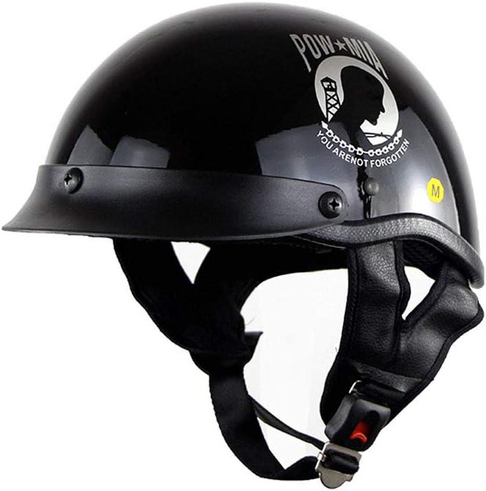 Alamor Black Vintage Sicherheitshalbhelm Motorrad Bike Cruiser Open Face Cap