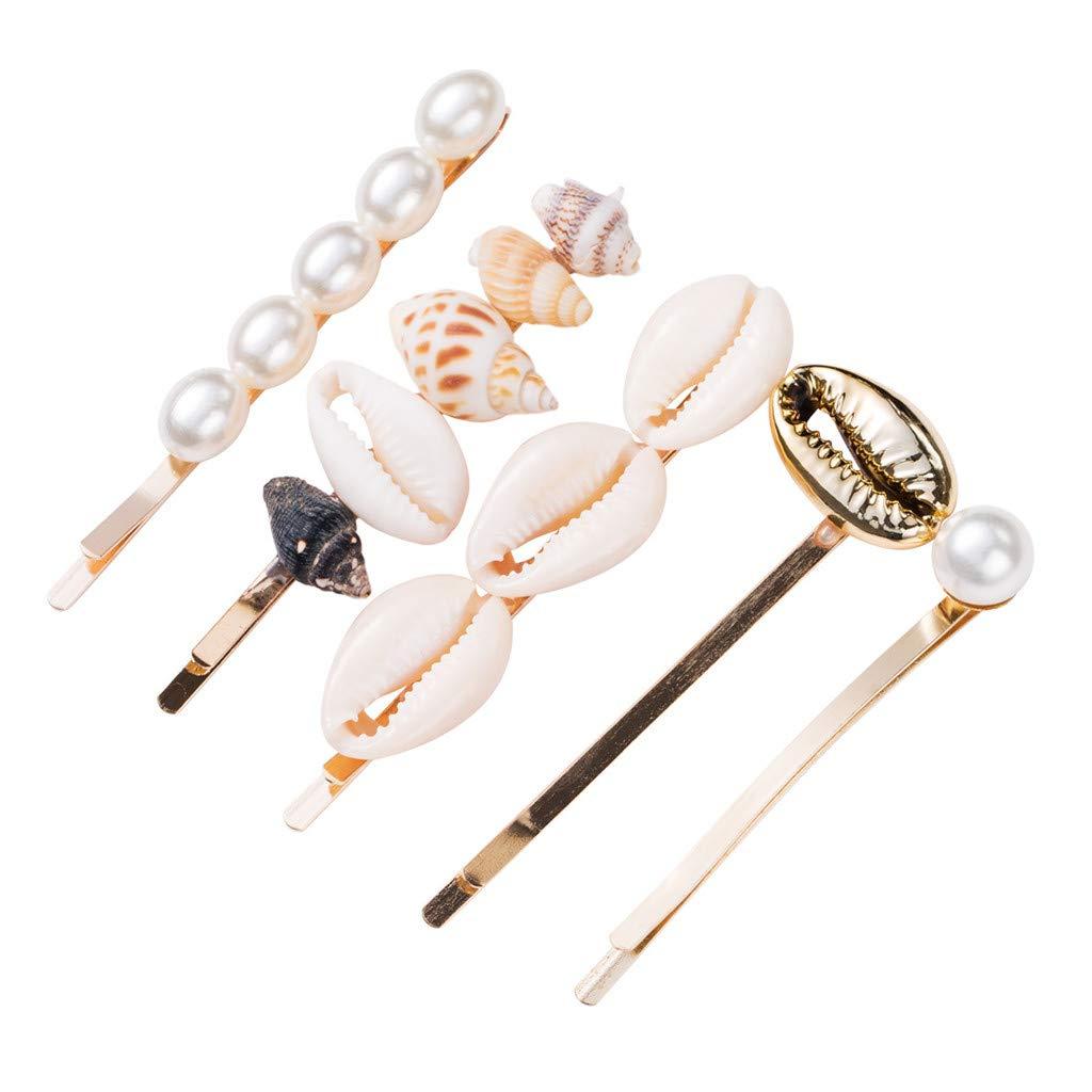 ❤️ 4//5Pcs//Set Fashion Pearl Acetate Hair Clips Sweet Shiny Geometric Barrette