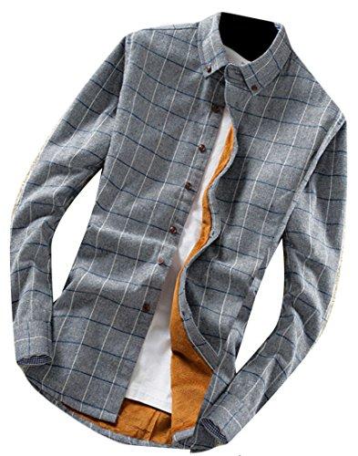 M&S&W Men's Fashion Thick Plaid Long Sleeve Button Down Shirt 8