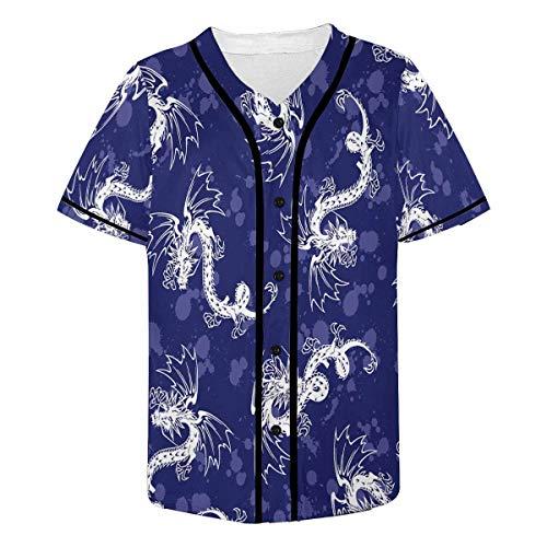 INTERESTPRINT Men's Dragons Blue Fashion Baseball Jersey T-Shirt 4XL