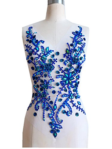 Pure Hand Made Crystals Patches Blue Sew on Rhinestone Applique Knit Trim 50 x 30 cm Dress Accessory ()