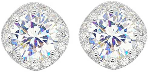 EVER FAITH 925 Sterling Silver Cubic Zirconia Elegant Cushion Cut Halo Stud Earrings