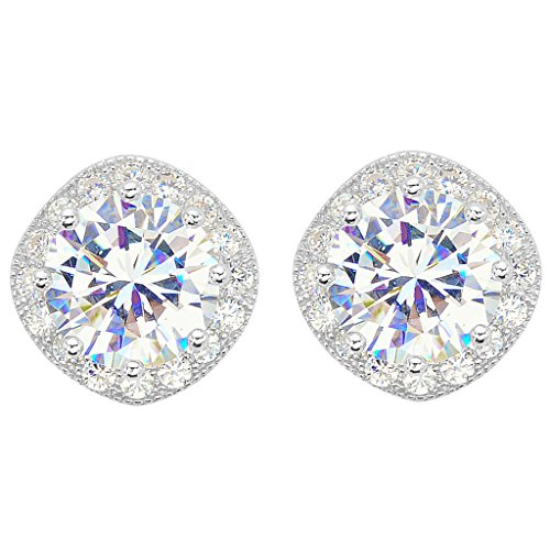 EVER FAITH 925 Sterling Silver Cubic Zirconia Elegant Cushion Cut Halo Stud Earrings Clear (Tilt Womens Ring)