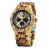 Bewell W116B Luminous Pointers Wooden Watches Men Sub-dials(Zebra Wood)
