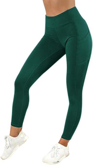 Meibax Leggings Deportes Pantalones Para Mujeres De Color Solido Entrenamiento Gimnasio Fitness Gym Yoga Mid Cintura Running Workout Mallas Elasticos Fitness Pants Ropa De Ejercicio Con Bolsillo Amazon Es Ropa Y Accesorios