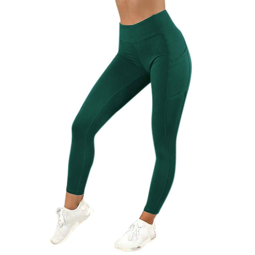 CapsA Yoga Leggings for Women Solid Pocket Sweatpants Workout Leggings Fitness Sports Running Yoga Athletic Pants Green