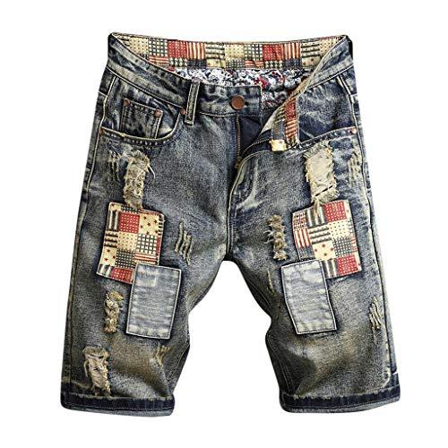 (JJLIKER Men's Retro Pleated Denim Shorts Distressed Ripped Skinny Biker Jeans Taped Light Washed Cutout Holes Pants)