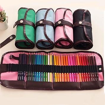 Demana - Estuche de lona para lápices, bolsa de almacenamiento, bolsa enrollable con 48 agujeros, color azul 60 cm: Amazon.es: Oficina y papelería