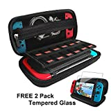 Nintendo Switch Case with 2 Pack Screen Protector, Built-in Stand iVoler Protective Portable Hard Shell Pouch Carrying Travel Game Bag for Nintendo Switch Console Accessories Holds 12 Game Cartridge