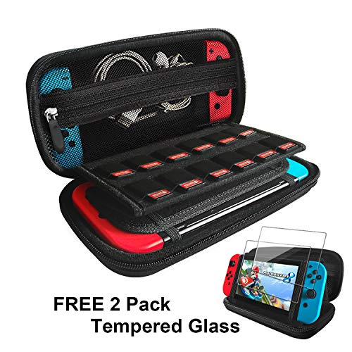 Nintendo Switch Case with 2 Pack Screen Protector, Built-in Stand iVoler Protective Portable Hard Shell Pouch Carrying Traveler Game Bag for Nintendo Switch Console Accessories holds 12 Game Cartridge