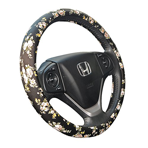 ZYHW Car Steering Wheel Cover with Universal 15 Inch Middle Size Auto Anti-Slip Wheel Protector Flower Pattern D Style