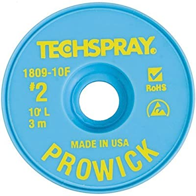 "Techspray 1809-10F Pro Wick Rosin Desoldering Braid, .055"" x 10' on ESD-Safe Spool"