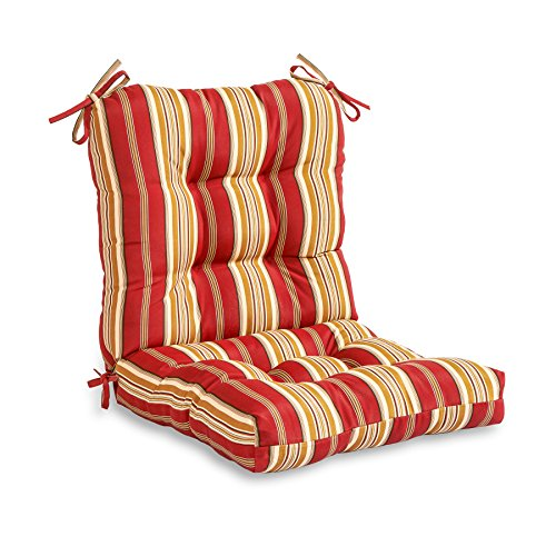 Greendale Home Fashions Outdoor Seat/Back Chair Cushion, Roma Stripe (Cushion Seat Outdoor Deep)