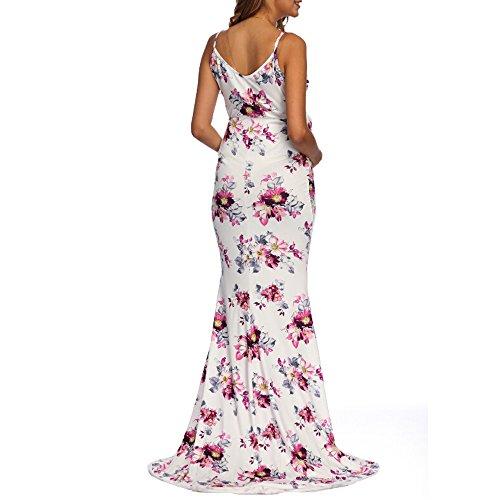BOOMJIU Women's Off Shoulder Sleeveless Ruffles Lace Maternity Gown Maxi Photography Dress White by Women Dress (Image #5)