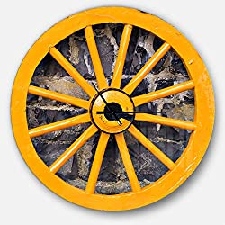 Designart Yellow Wooden Wagon Wheel Country Wall Art Design Farmhouse Circle Wall Decorative Clock - Home Decorations for Home, Living Room, Bedroom, Office Decoration Round Metal Wall Clock