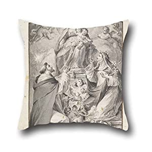Cushion Covers Of Oil Painting Fedele Fischetti - Design For An Altar Painting- Saint Dominic And Saint Catherine Of Siena Receiving The Rosary From,for Son,car,home Theater,home Office,bedroom,sofa