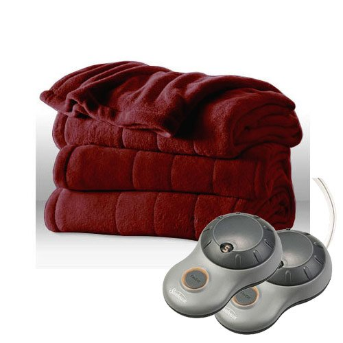 Sunbeam Channeled Microplush Heated Electric Blanket King Garnet Red