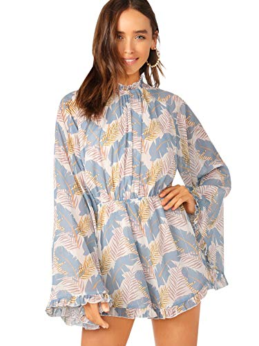 Romwe Women's Floral Printed Ruffle Bell Sleeve