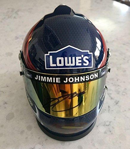 Johnson Autographed Mini Helmet (2016 Jimmie Johnson Batman VS Superman Lowes Signed 1/3 Scale Mini Helmet - Autographed NASCAR Helmets)