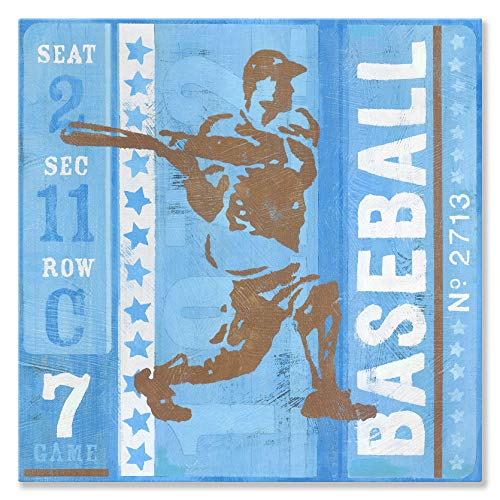 Oopsy Daisy Game Ticket At Bat by Roger Groth Canvas Wall Art, 30 by 30-Inch ()