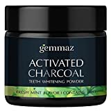 #4: Natural Teeth Whitening Powder, Organic Bamboo Activated Charcoal, Safe Tooth Whitener for Sensitive Teeth Gums, Food Grade, Fresh Mint Flavor by Gemmaz 30g