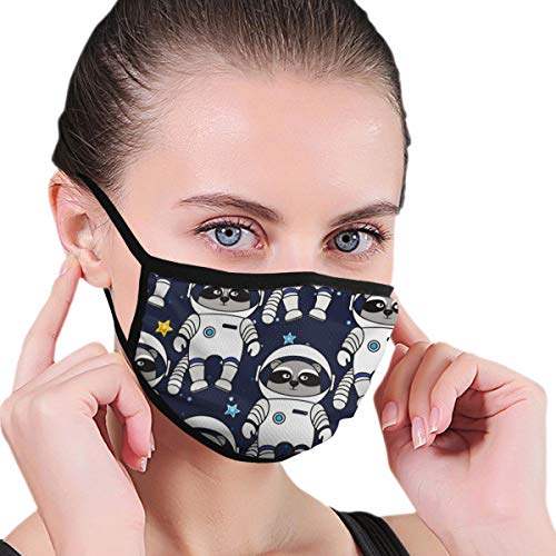 Fashion Earloop Face Masks, Anti-Dust Pollenm Smog Face and Nose Cover with Adjustable Elastic Strap, Space Raccoon Astronaut Medical Mask
