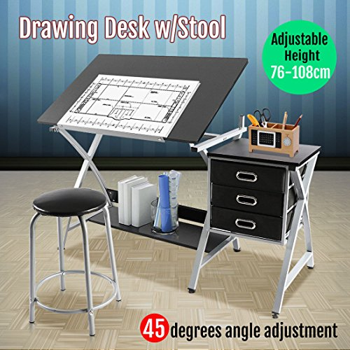 Marketworldcup Adjustable Drafting Craft Design Drafting Drawing Table Station Art With Stool (Stool Bailey)